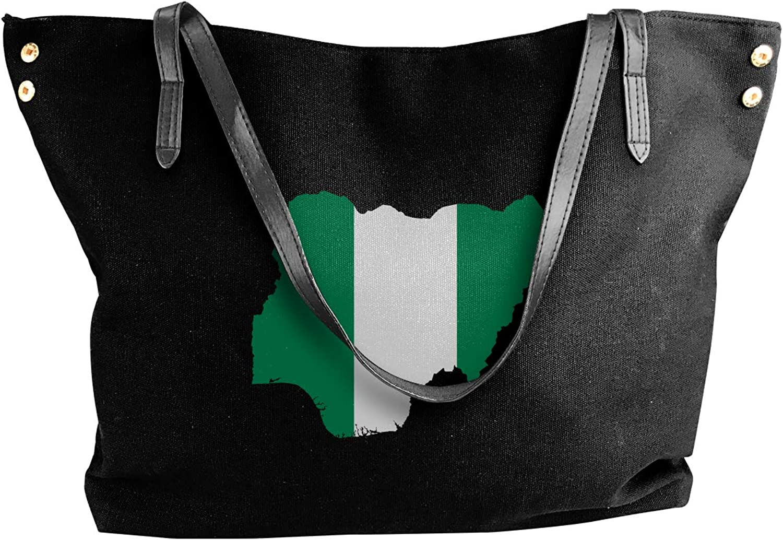 Nigeria Flag Map Women'S Recreation Canvas Sling Bag For School Work Bag