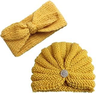 Unisex Amarillo Dough.Q Gorro para beb/é Turbante para la Frente c/álido y Suave reci/én Nacidos Turbante con Nudos