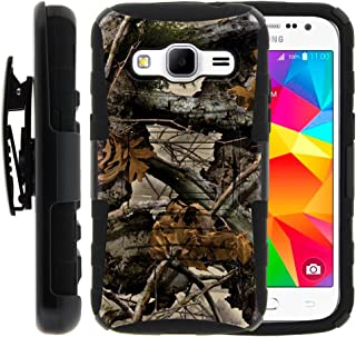 TurtleArmor | Compatible with Samsung Galaxy Core Prime Case | Prevail | Win 2 [Hyper Shock] Hybrid Dual Layer Armor Holster Belt Clip Case Kickstand - Tree Leaves Camouflage