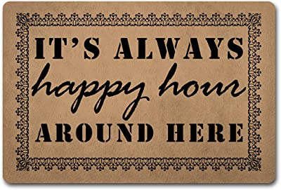 "Funny Welcome Doormat House Warming Gift Mat 15.9""(W) x 23.7""(L) It's Always Happy Hour Around Here Door Mat for Entrance Way Hello Monogram Mats for Front Door Mat No Slip Kitchen Rugs and Mats"
