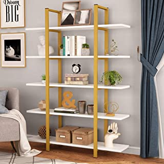 Tribesigns 5-Tier Bookshelf, Vintage Industrial Style Bookcase 70 '' H x 9'' W x 47''L, Gold