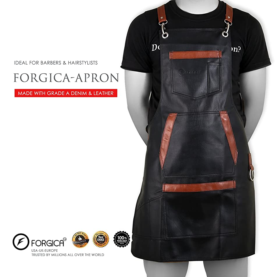 FORGICA Professional Leather Apron Hair Cutting Aprons For Men Hairdressing Aprons Barber Cape for Salon Hairstylist - Multi-use Adjustable 8 pockets - Gifts Heavy Duty Premium Quality Black Apron