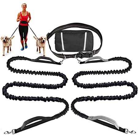 Running Dog Leash Adjustable Dog Walking Belt Leash Waist Belt Hands Free Reflective Double Telescoping for Dog Blue