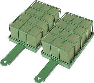 com-four® 2x Steckmasse für Blumengestecke mit Halter und Gitter - Steckschaum für Frischblumen - Steckschwamm zum Basteln für Hochzeit und Geburtstag (2 Stück)