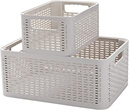 Mind Reader 2-Tier Stackable Containers Baskets, Plastic Storage Bins, Ivory