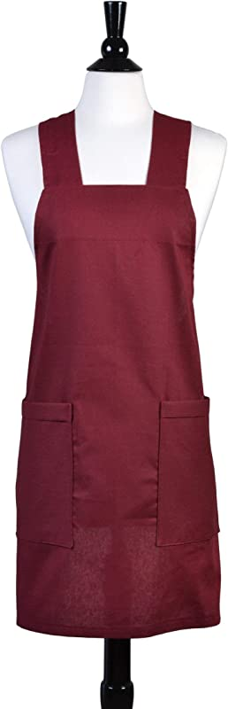 Japanese Linen Cross Back Apron Bordeaux Deep Burgundy Womens Retro Crossover Pinafore Vintage Style Kitchen Apron Two Large Pockets Personalized Option