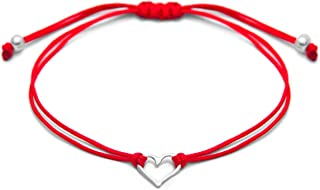 Claudia Lira Joyas Red Womens Friendship Bracelet, Small Sterling Silver 925 Open Heart Shaped Charm, Pull Adjustable Kindred Cord Thread, Handmade in Peru