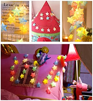Twinkle Star 20 LED 9.4 FT Star String Lights Battery Operated, 3D Fairy String Lights Christmas Tree Wedding Party I...