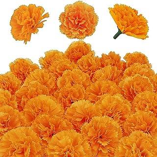 Kunstmatige Goudsbloem Bloemen Hoofden Bulk Zijde Kunstbloemen Goudsbloemen Decoratie Set Oranje Nep Bloemen voor DIY Brui...