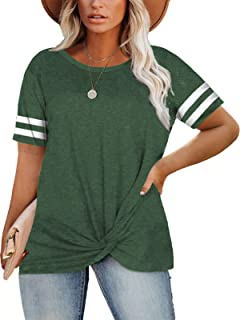 Womens Plus-Size Tops Knotted Summer T Shirts Striped...
