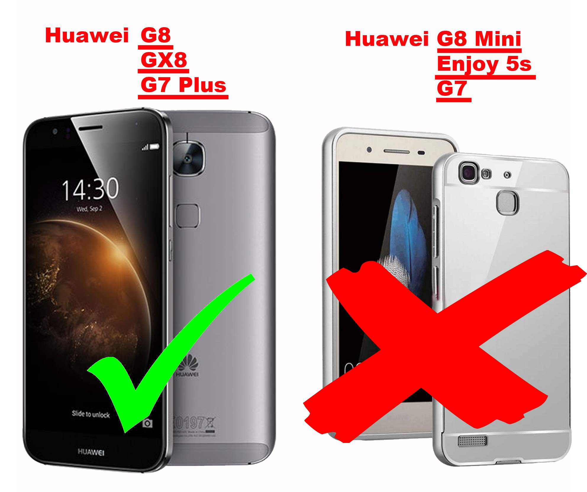 Cadorabo Funda para Huawei G7 Plus / G8 / GX8 en Metallic Plateado ...