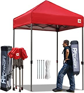 ABCCANOPY Tent Pop up Canopies 5'x5' Comapct Canopy Tent Outdoor Portable Canopies Sun Shelter with Backpack Roller Bag, Bonus 4 Stakes and Ropes