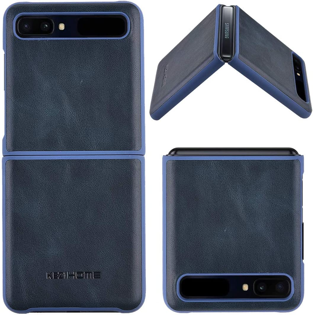 KEZiHOME Samsung Galaxy Z Flip Case/Z Flip 5G Case, Genuine Leather Samsung Z Flip Case, Minimalist Ultra Thin Slim Durable Protective Phone Case Cover for Samsung Galaxy Z Flip (Blue)