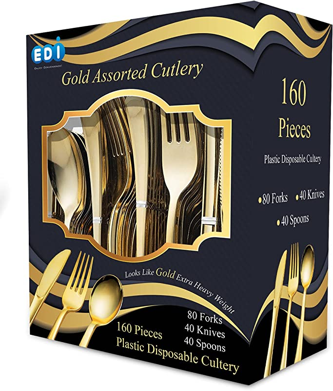 EDI 160 Pieces Disposable Gold Plastic Cutlery Heavy Duty Bulk Disposable Flatware Plastic Utensils Set 80 Forks 40 Knives And 40 Spoons