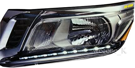 K1AutoParts LED L.E.D Daylight Chrome Headlight Lower Eyebrows Eyelid Cover Trim For Nissan Navara Frontier NP300 Pickup 2014 2015 2016