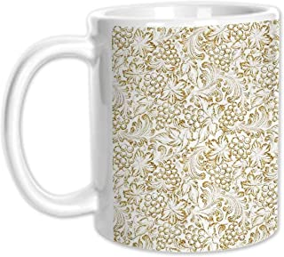 Kitchen Decor Stylish White Printed Mug,Golden Grape Vine Classic Victorian Pattern Invitation Background Wine Dine Illustration for Living Room Bedroom,11oz