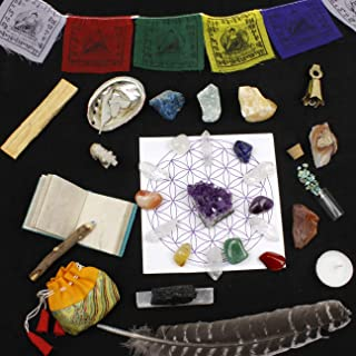 Healing Crystals Meditation Altar Kit (35 Pcs + Instruction Guides w/ Metaphysical Info) Chakra Balance Stones & Grid, Abalone Shell, Sage, Smudge Feather, Spirit Animal, Amethyst Cluster, Premium Set