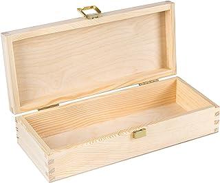 Creative Deco Drewniana Kasetka Podłużna ze Złotym Zamkiem | 24 x 10.5 x 5.7 cm | Pudełko Idealne do Przechowywania Drobia...