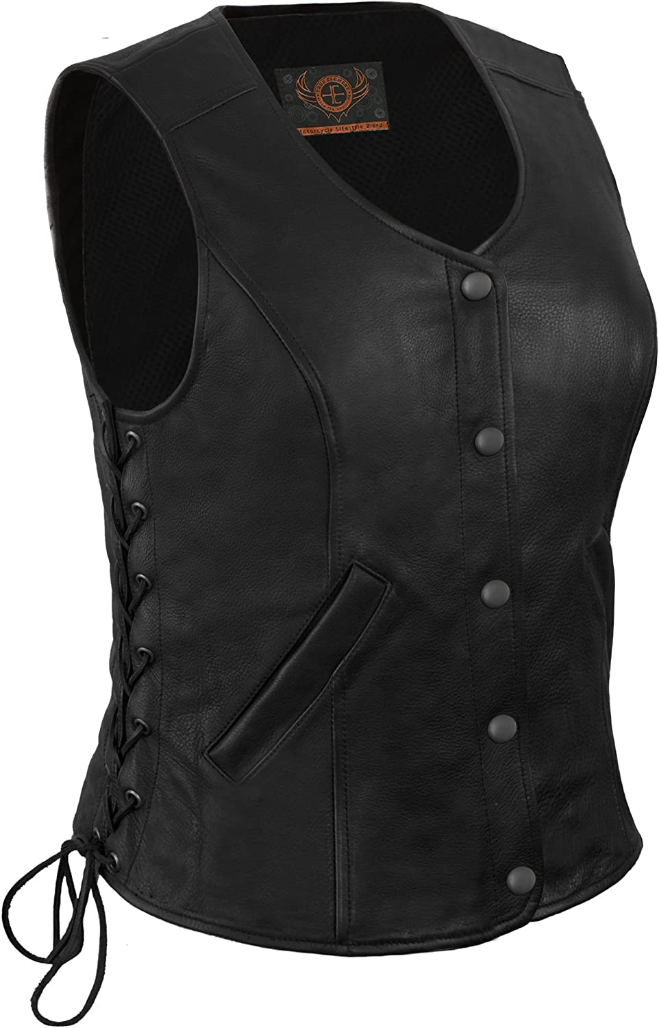 True Element おトク Womens Longer Length S Vest Leather 新作 人気 With Motorcycle