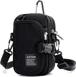 LC Prime Small Shoulder Bag, Sling Crossbody Pouch Waist Pack for Men Women Work Dog Walking Travel (Nylon, Black)