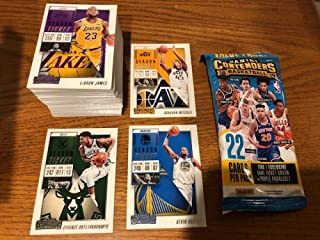 2018-19 Panini NBA Contenders Complete Hand Collated Base Set of Basketball Cards 100 Cards NO ROOKIES With a FAT PACK WRAPPER AND FREE SHIPPING IN THE USA.. Includes Giannis Antetokounmpo, Stephen Curry, Kevin Durant, LeBron James in Los Angeles Lakers uniform, Anthony Davis, Ben Simmons, Kyrie Irving, Chris Paul, Joel Embiid, Russell Westbrook, Dirk Nowitzki, Kawhi Leonard, James Harden, Lonzo Ball, Draymond Green, Victor Oladipo, Donovan Mitchell, Devin Booker and Many More