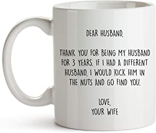YouNique Designs 3 Year Anniversary Coffee Mug for Him, 11 Ounces, 3rd Wedding Anniversary Cup for Husband, Three Years