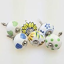 Möbelknopp möbelknopp möbelhandtag uppsättning av 6 11023GN – jay knapp keramik porslin handmålad vintage möbelknoppar för...