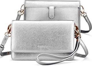 nuoku Women Small Crossbody Bag Cellphone Purse Wallet with RFID Card Slots 2 Strap Wristlet(Max 6.5'')