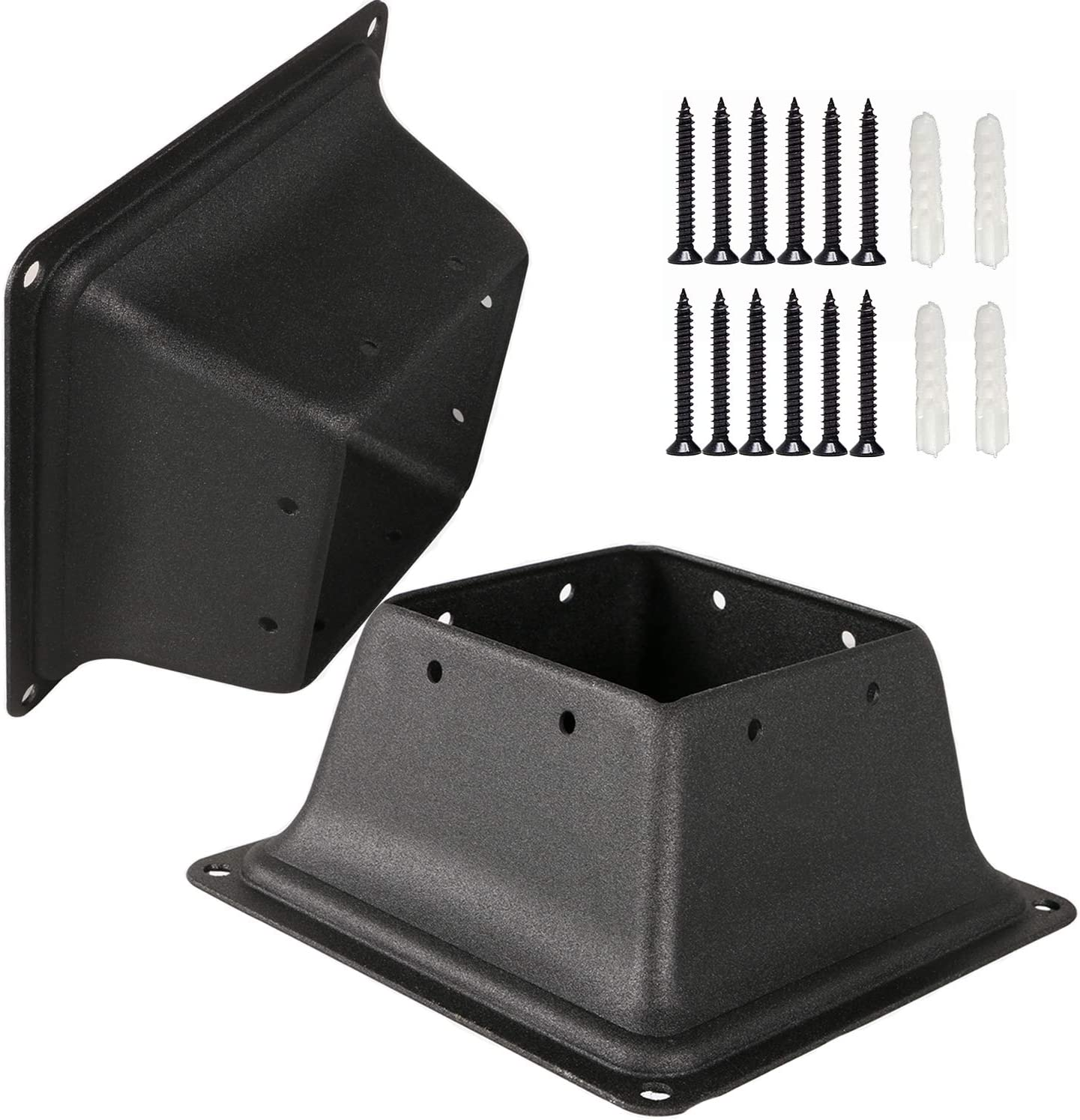 Max 51% OFF Yahpetes Post Base 3.35''×5.12''x2.6'' outlet Square Black Brackets