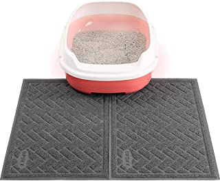 UPSKY Double Large Cat Litter Mat (24'' x 16'' x 2 Pieces), Premium Traps Litter from Box and Paws, Scatter Control for Litter Box, Soft on Sensitive Kitty Paws, Easy to Clean, Durable