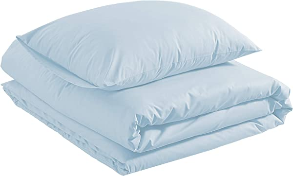 AmazonBasics Lightweight Percale Cotton Duvet Comforter Cover Set Twin Twin XL Blue Pastel