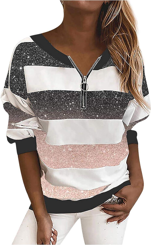 iQKA Women 1/4 Zip Pullover Plus Size Stripe Sweatshirt V-Neck Long Sleeve Casual Loose Tops Blouse S-XXXXXL