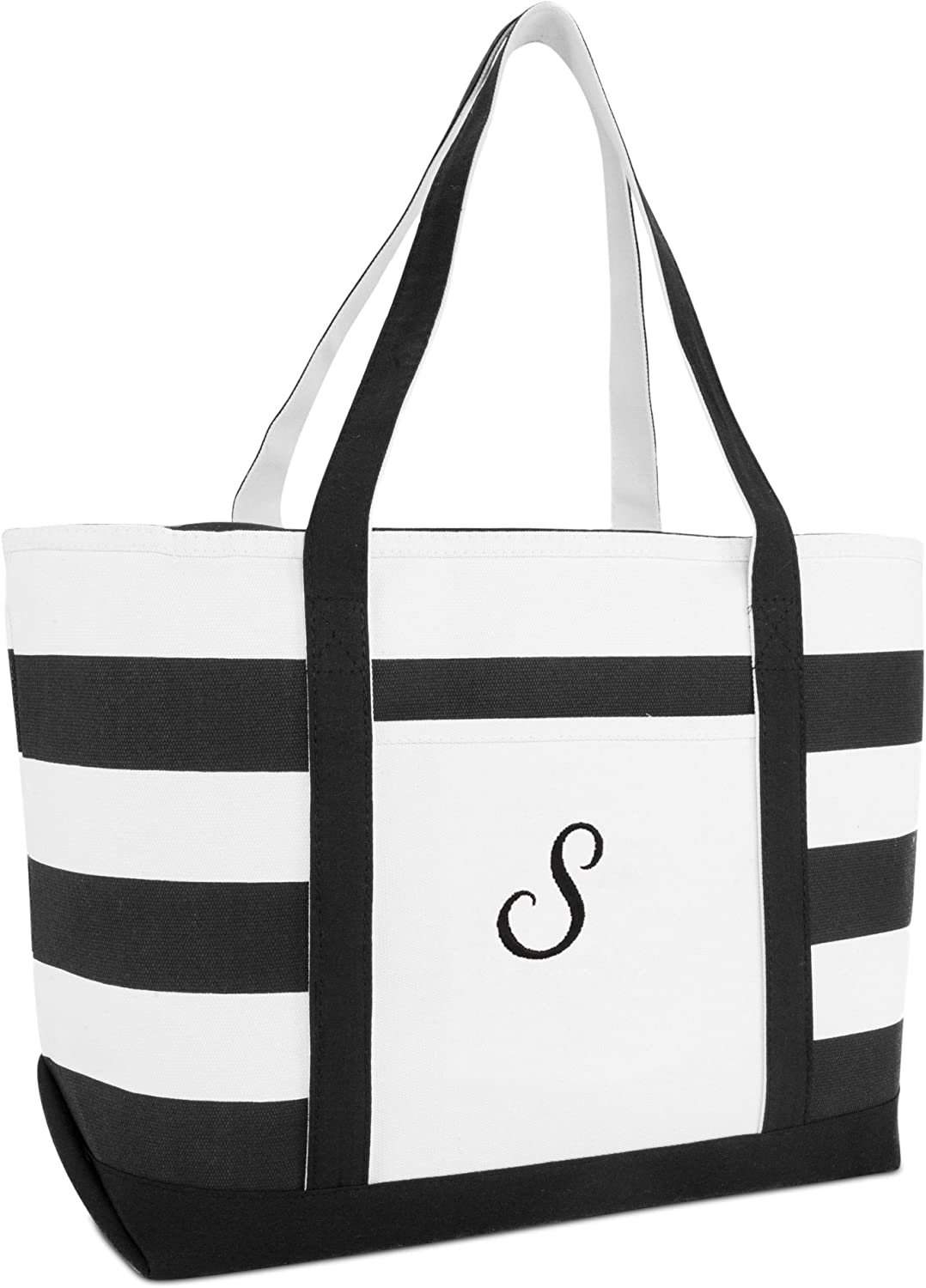 DALIX Striped Beach Ranking TOP18 Bag Tote Canvas Black Personalized Ball Bags Max 44% OFF