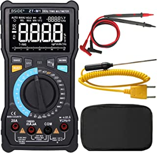 Bside ZT-M1 True RMS Digital Multimeter 3-Line Display Manual & Auto Mode 8000 Counts Auto-Ranging DMM VFC Temperature Capacitance AC/DC Voltage Current Battery Tester with Analog Bargraph