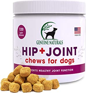 Genuine Naturals Glucosamine Chondroitin, MSM, Organic Turmeric Soft Chews, Hip and Joint Supplement for Dogs, Supports He...