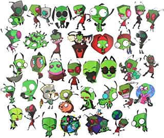 Cartoon Show Invader Zim Themed 38 Piece Sticker Decal Set for Kids Adults - Laptop Motorcycle Skateboard Decals