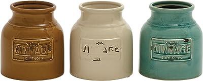 """Deco 79 71260 3 Assorted Ceramic Cutlery Jar, 6"""" by 7"""""""