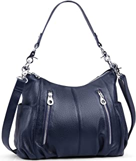 Heshe Womens Leather Shoulder Handbags Cross Body Bags Hobo Totes Top Handel Bag Satchel and Purse for Ladies (Navy Blue-H)