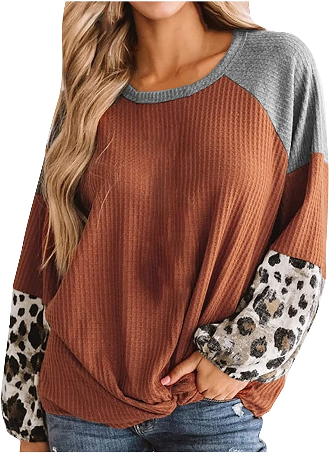 Womens Leopard Waffle Knit Blouses Color Block Panel Puff Long Sleeve Shirt Tops Crewneck Loose Fitted Casual Tunic