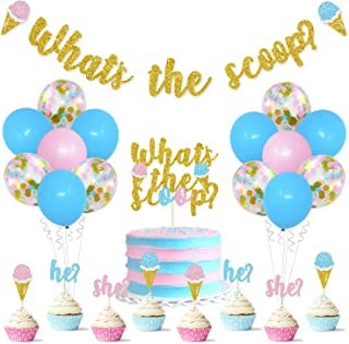 Ice Cream Gender Reveal Decorations Kit What Is The Scoop Banner Cake Topper He or She Cupcake Toppers Balloons for Summer...
