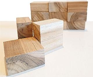 DIY木材 チークブロック材 12ピース 角材 (長方形) 6㎝×6㎝×3㎝