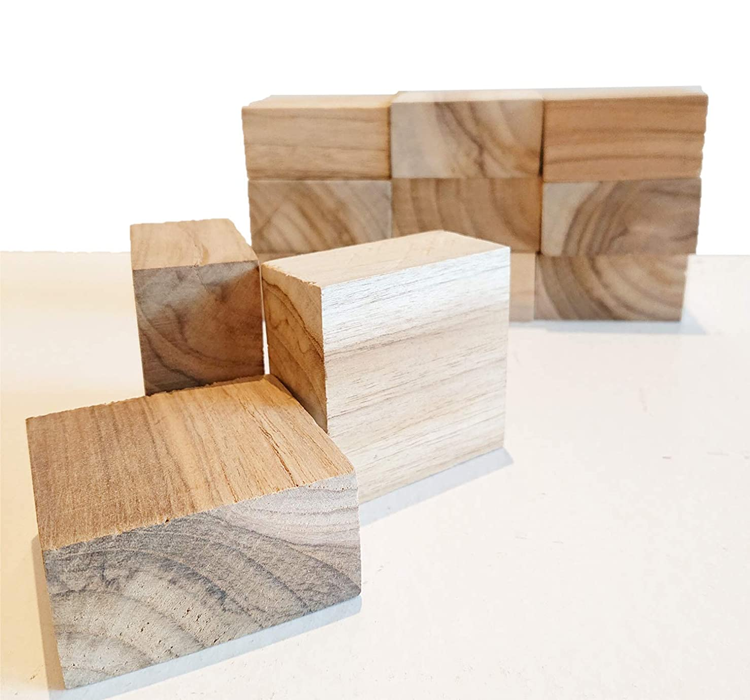 マウントバンク彼女のを除く【送料無料】お得 50個セット DIY 木材 チーク系ブロック材 角材 無垢材 積み木 ブロック ディスプレイ 6㎝×6㎝×3㎝【ワールドデコズ】