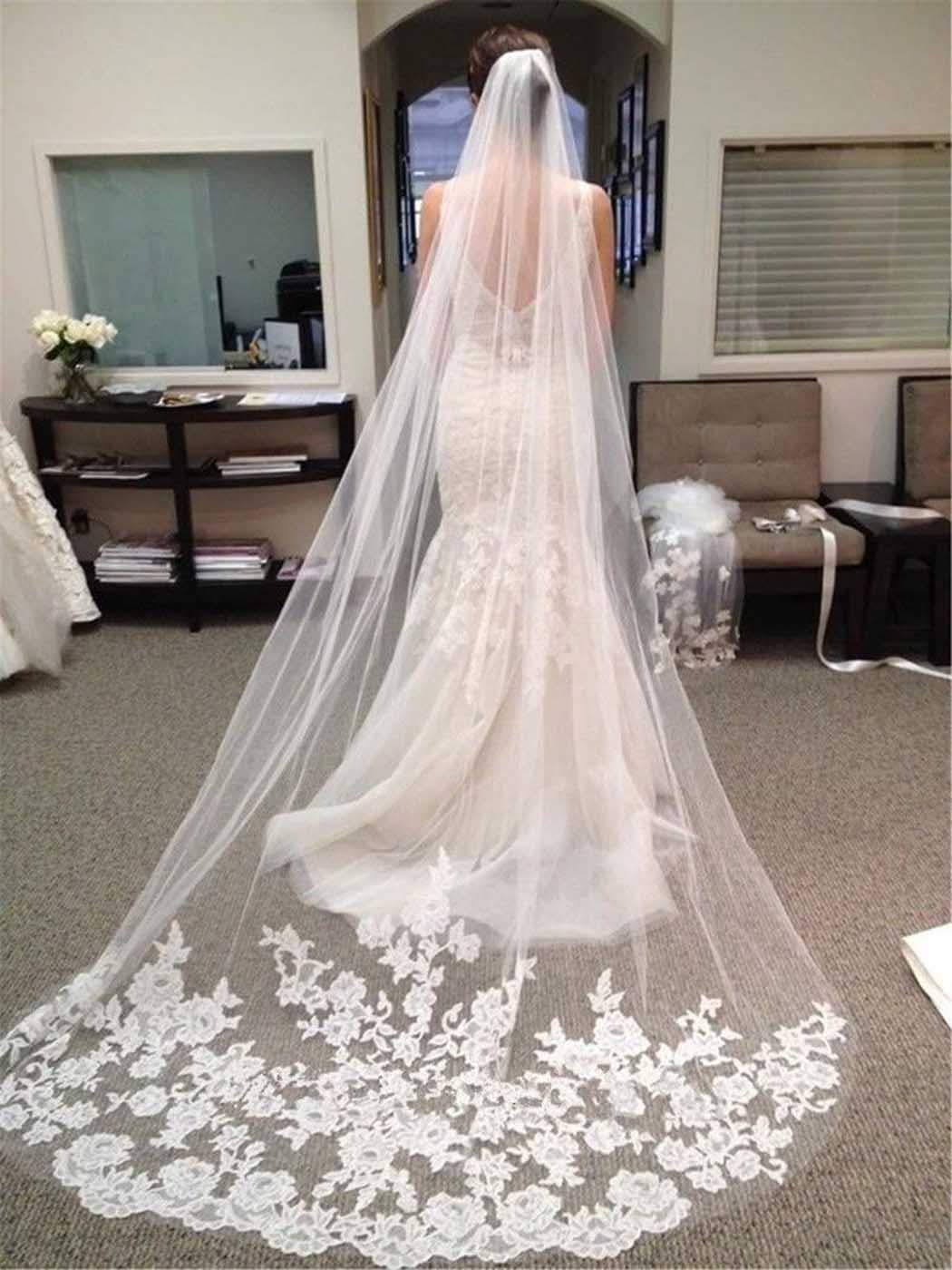 Salliy Layer Wedding Veil Bridal Veil Embroidery Lace Edge Bride with Comb Cathedral Length Hair Accessories (Ivory)