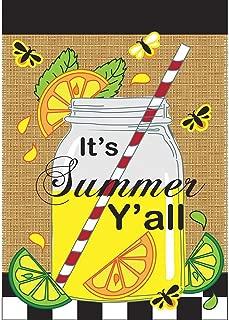 Its Summer Yall Mason Jar Lemonade 18 x 13 Rectangular Burlap Double Applique Small Garden Flag
