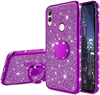 EMAXELER Huawei Honor 8X Max Case Bing Glitter Diamond Shiny Luxury Plating TPU 360 Degree Ring Stand Bumper Silicone Protective Case Cover for Huawei Honor 8X Max - Purple Glitter KDL