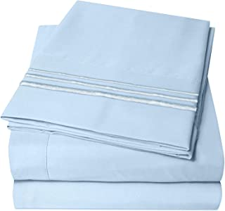 D & G THE DUCK AND GOOSE CO 4 Piece Bed Sheets Set, 100% Double Brushed Microfiber 1800 Bedding Set - Super Soft & Comfortable - Baby Blue - Queen