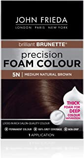 John Frieda Precision Foam Color, Medium Natural Brown 5N, Full-coverage Hair Color Kit, with Thick Foam for Deep Color Saturation