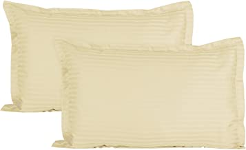 """HSR Collection Luxurious Striped 2 Piece Sateen Pillow Cover Set - 18""""x27"""", Ivory"""