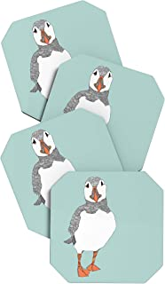 Deny Designs Casey Rogers Puffin 2 Coasters, Set of 4