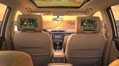 """Pair Rockville RHP91-BG 9"""" Plug N Play Beige Car Headrest Monitors w/Speakers"""